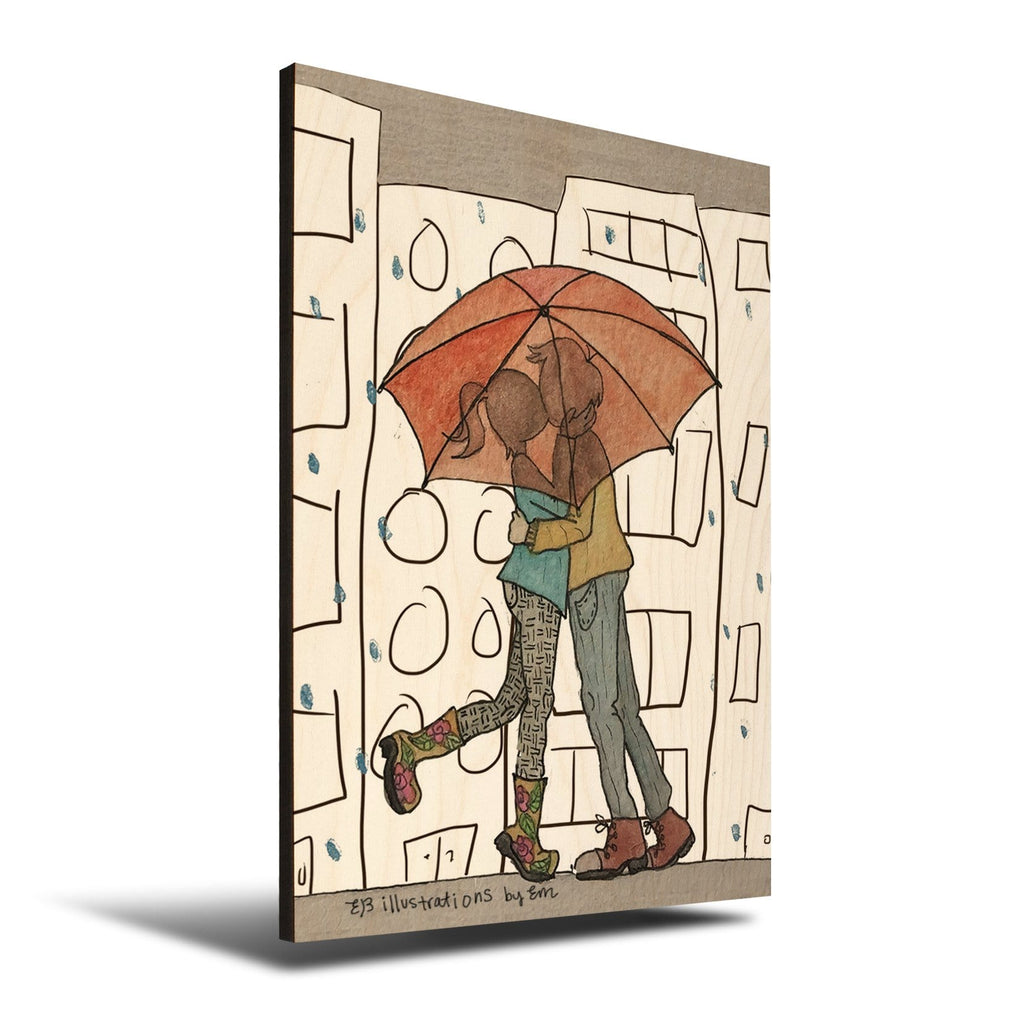 Solid Wood Wall Art - Illustrations by Em's Umbrella Lovers - 12x18 DaydreamHQ Pine Wall Art 12x18