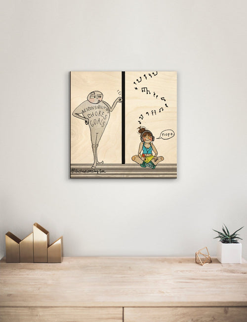 Solid Wood Wall Art - Illustrations by Em's Under Pressure - 12x12 DaydreamHQ Pine Wall Art 12x12