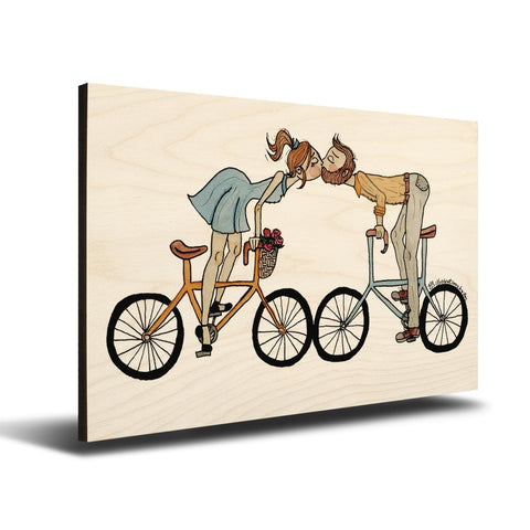 Solid Wood Wall Art - Illustrations by Em's Wheels Spin -18x12