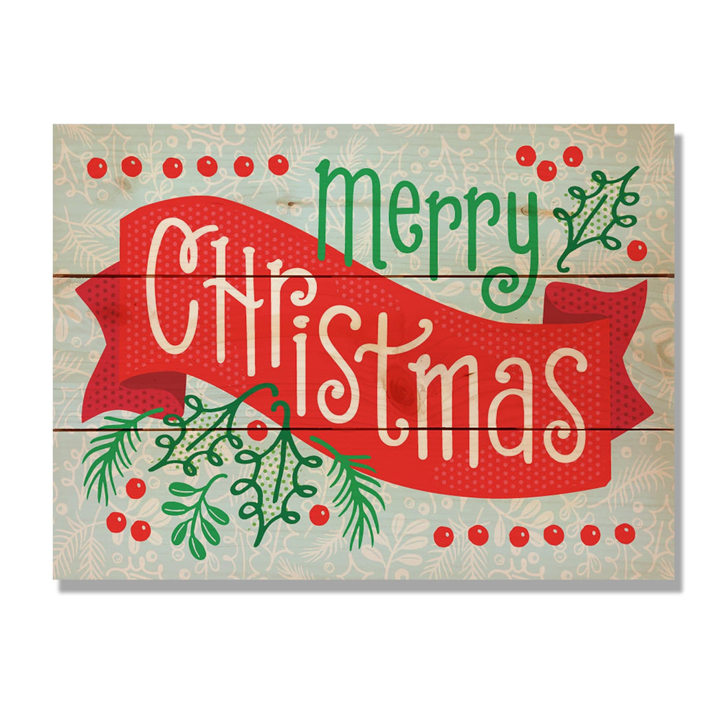 "Merry Christmas Banner - Classic Pine Wood Art DaydreamHQ Pine Wall Art 11""x15"""
