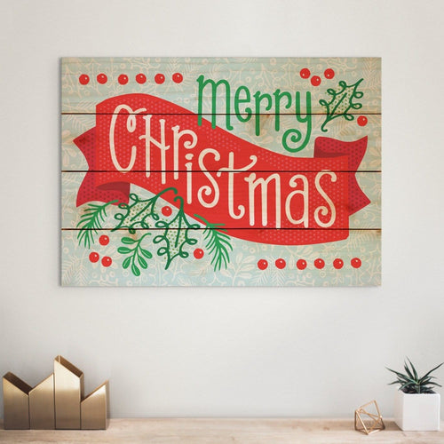Merry Christmas Banner - Classic Holiday Wood Art DaydreamHQ Pine Wall Art