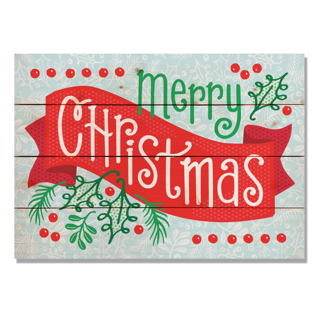 Merry Christmas Banner - Classic Pine Wood Art
