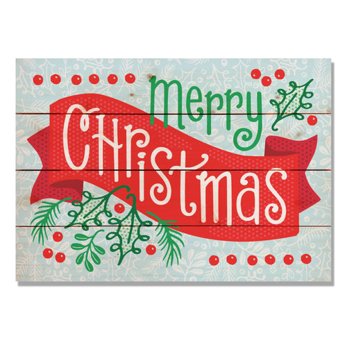 "Merry Christmas Banner - Classic Pine Wood Art DaydreamHQ Pine Wall Art 14""x20"""