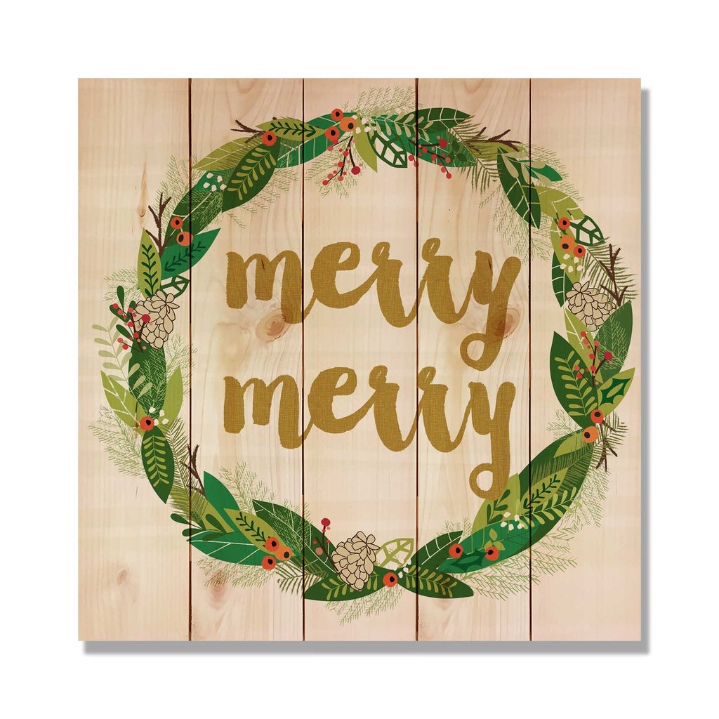 Merry Merry Wreath - Classic Pine Wood Art Art DaydreamHQ Pine Wall Art