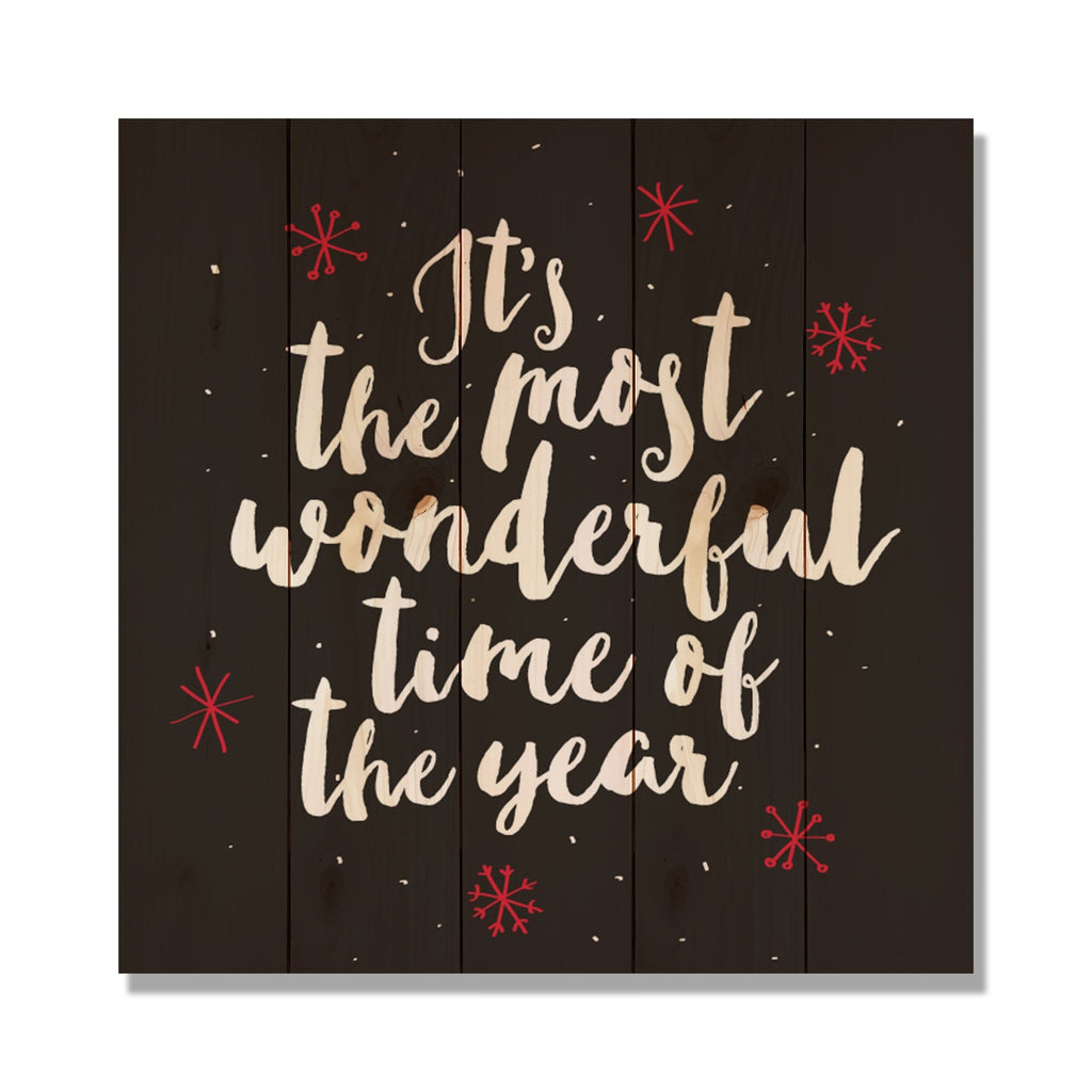 Most Wonderful Time - Classic Pine Wood Art Art DaydreamHQ Pine Wall Art