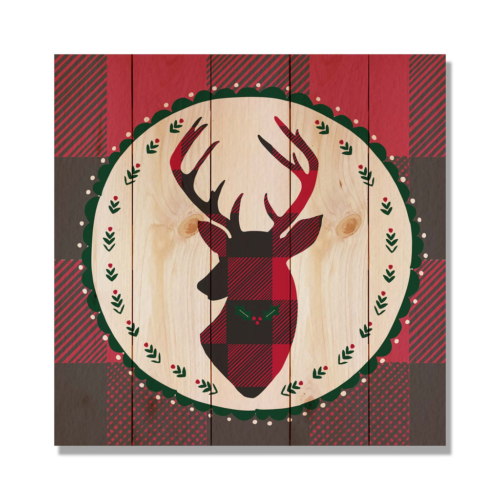 Plaid Reindeer - Classic Pine Wood Art Art DaydreamHQ Pine Wall Art