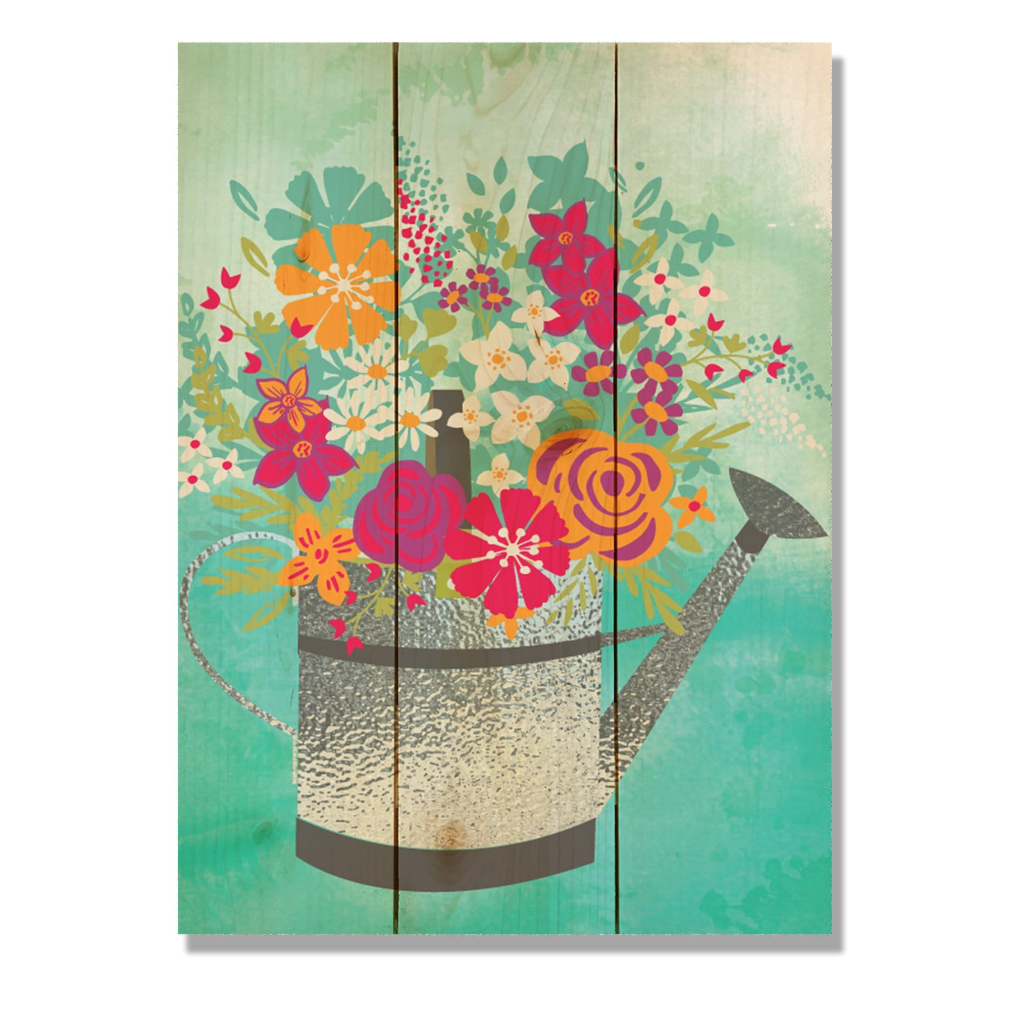 Colorful Watering Can Kitchen Garden Wood Wall Decor Daydreamhq