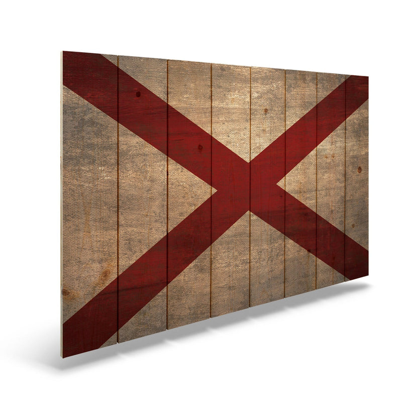 Indiana State Historic Flag on Wood