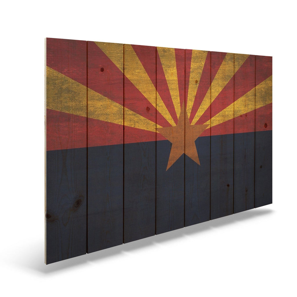 "Arizona State Historic Flag on Wood - Indoor & Outdoor Wall Art DaydreamHQ Pine Wall Art 44""x30"""
