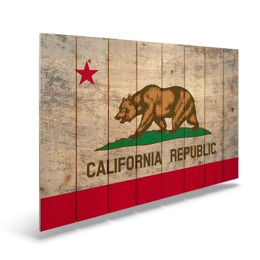 "California State Historic Flag on Wood - Indoor & Outdoor Wall Art DaydreamHQ Pine Wall Art 44""x30"""