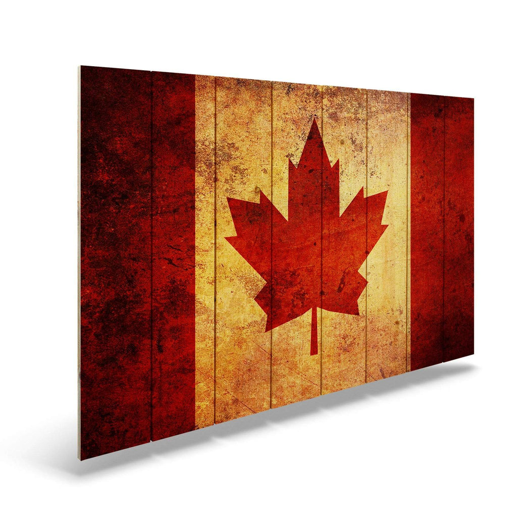 Test Product Rustic Canadian Flag on Wood - Indoor & Outdoor Wall Art DaydreamHQ Pine Wall Art 44x30