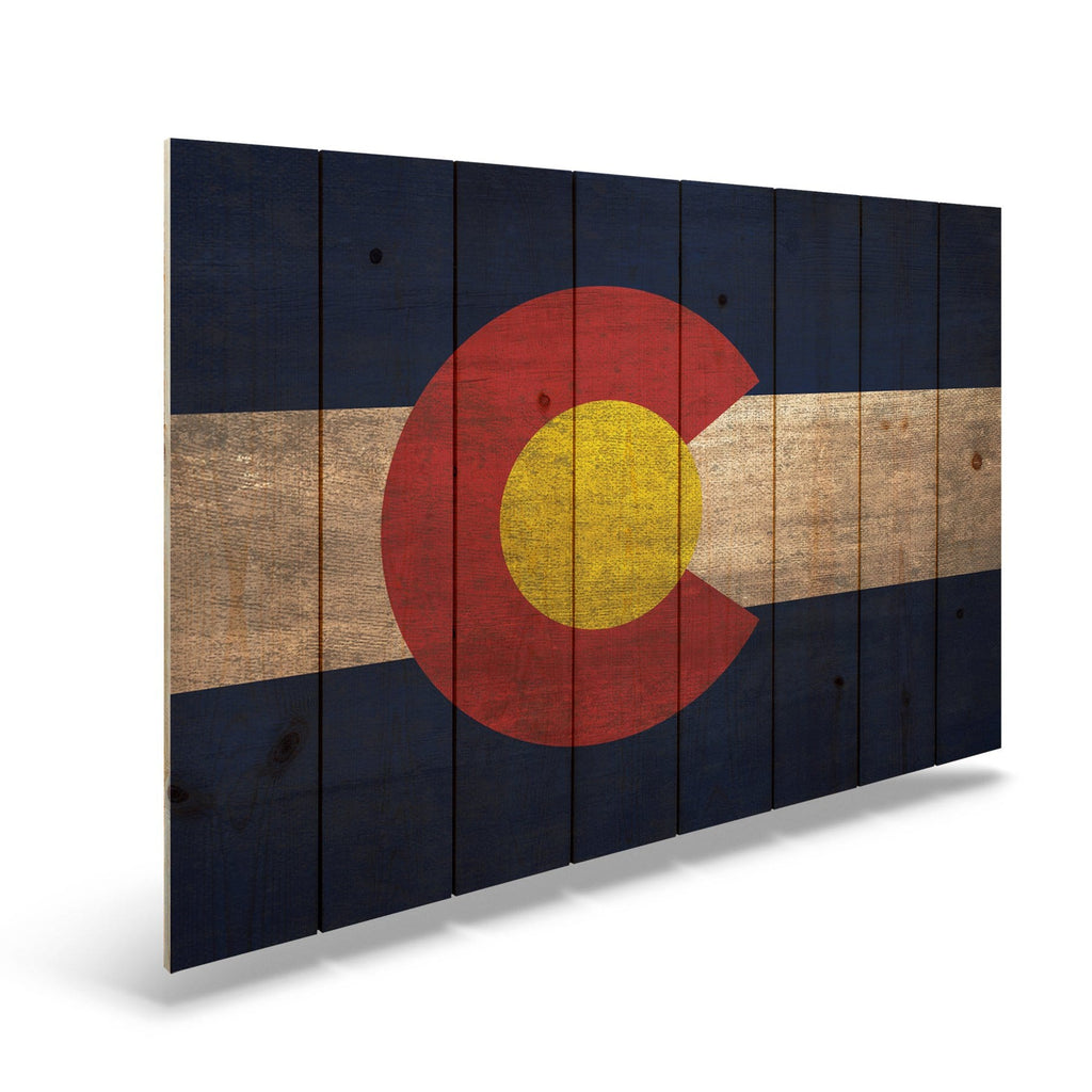 "Colorado State Historic Flag on Wood - Indoor & Outdoor Wall Art DaydreamHQ Pine Wall Art 44""x30"""