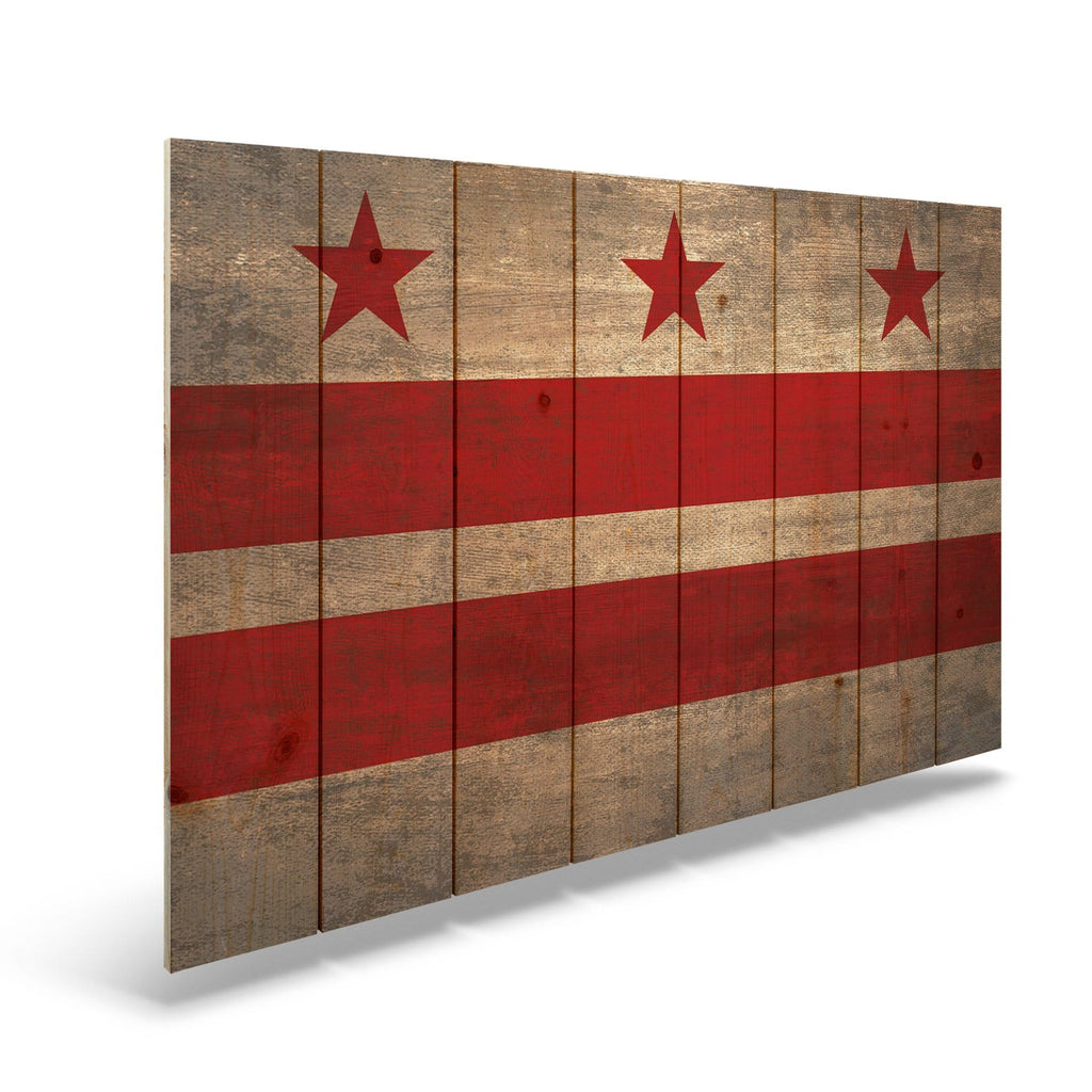 "Washington D.C. Historic Flag on Wood - Indoor & Outdoor Wall Art DaydreamHQ Pine Wall Art 44""x30"""