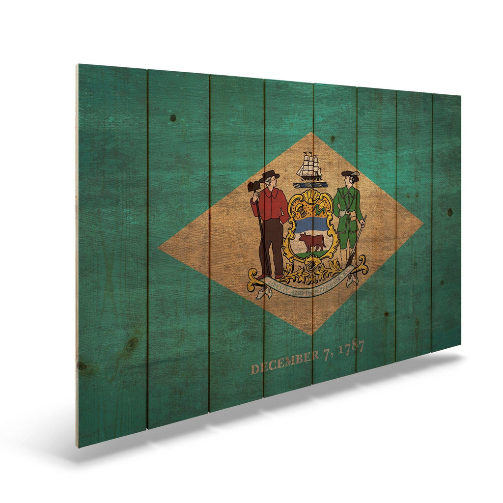 "Delaware State Historic Flag on Wood - Indoor & Outdoor Wall Art DaydreamHQ Pine Wall Art 44""x30"""