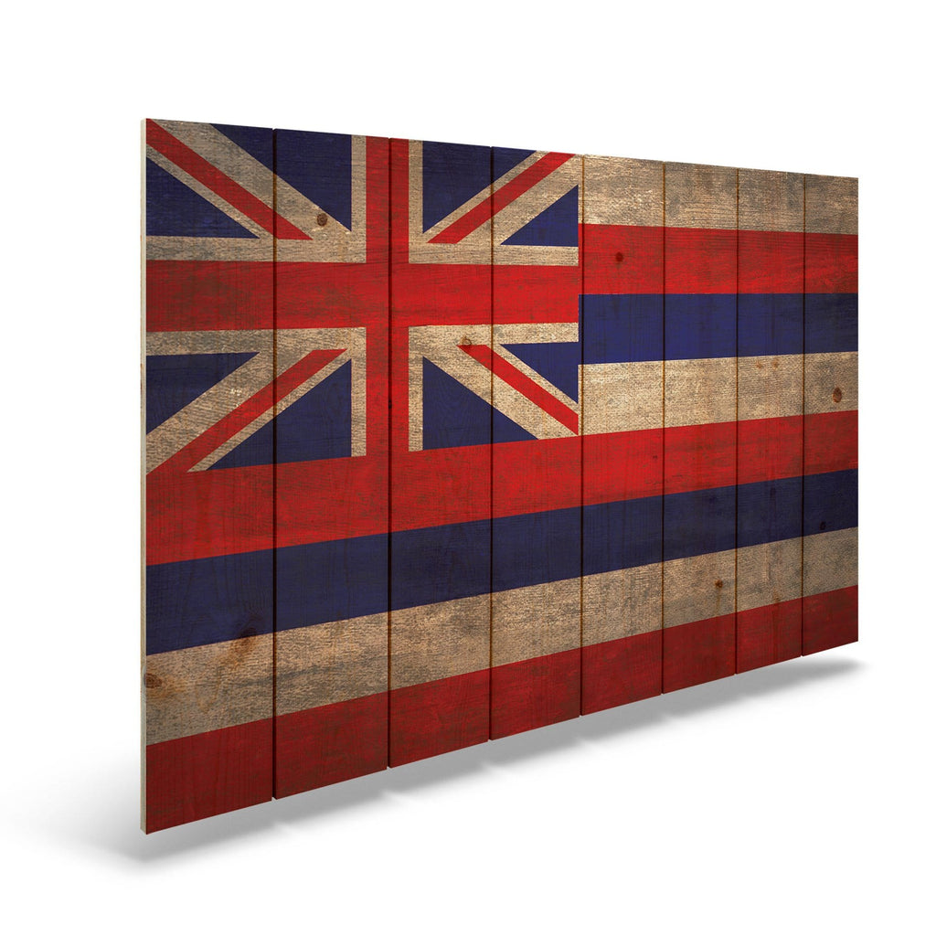 "Hawaii State Historic Flag on Wood - Indoor & Outdoor Wall Art DaydreamHQ Pine Wall Art 44""x30"""
