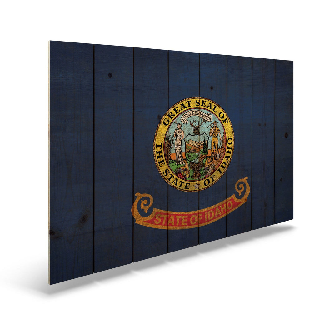 "Idaho State Historic Flag on Wood - Indoor & Outdoor Wall Art DaydreamHQ Pine Wall Art 44""x30"""