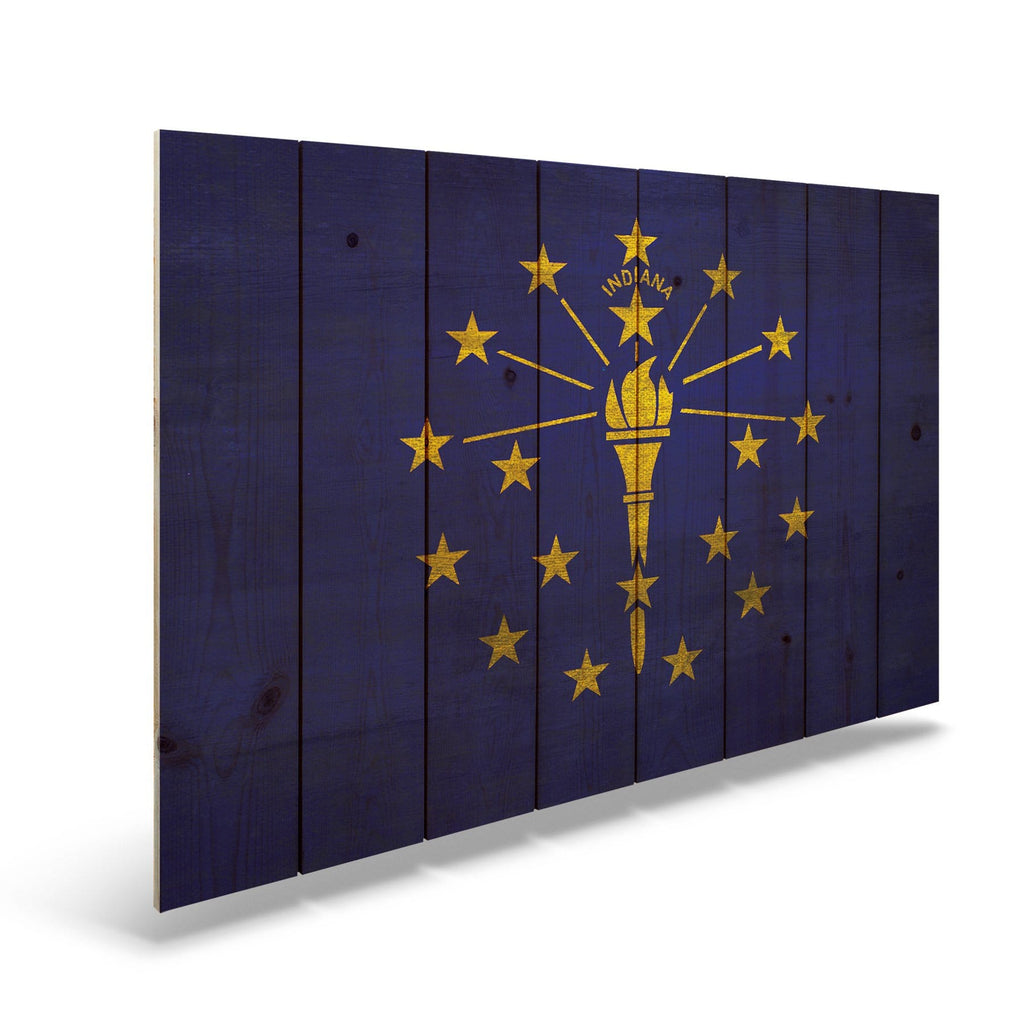 "Indiana State Historic Flag on Wood - Indoor & Outdoor Wall Art DaydreamHQ Pine Wall Art 44""x30"""