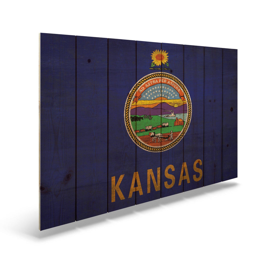 "Kansas State Historic Flag on Wood - Indoor & Outdoor Wall Art DaydreamHQ Pine Wall Art 44""x30"""