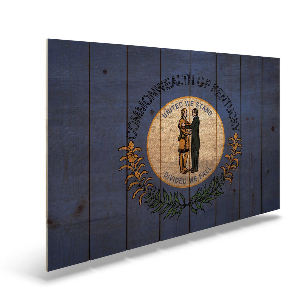 "Kentucky State Historic Flag on Wood - Indoor & Outdoor Wall Art DaydreamHQ Pine Wall Art 44""x30"""
