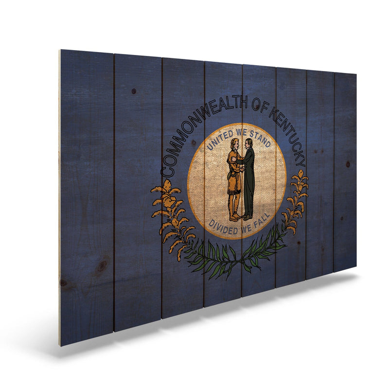 Kentucky State Historic Flag on Wood - Indoor & Outdoor Wall Art