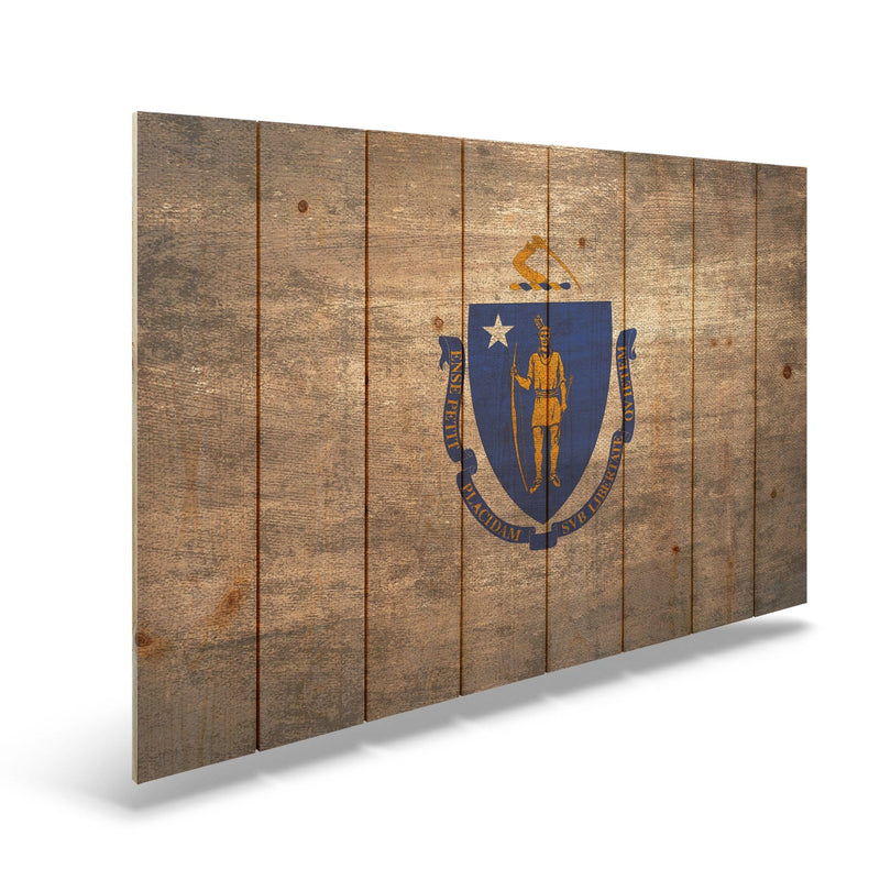 "Massachusetts State Historic Flag on Wood - Indoor & Outdoor Wall Art Daydream HQ Pine Wall Art 44""x30"""