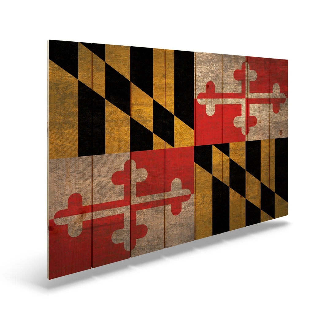 "Maryland State Historic Flag on Wood - Indoor & Outdoor Wall Art DaydreamHQ Pine Wall Art 44""x30"""