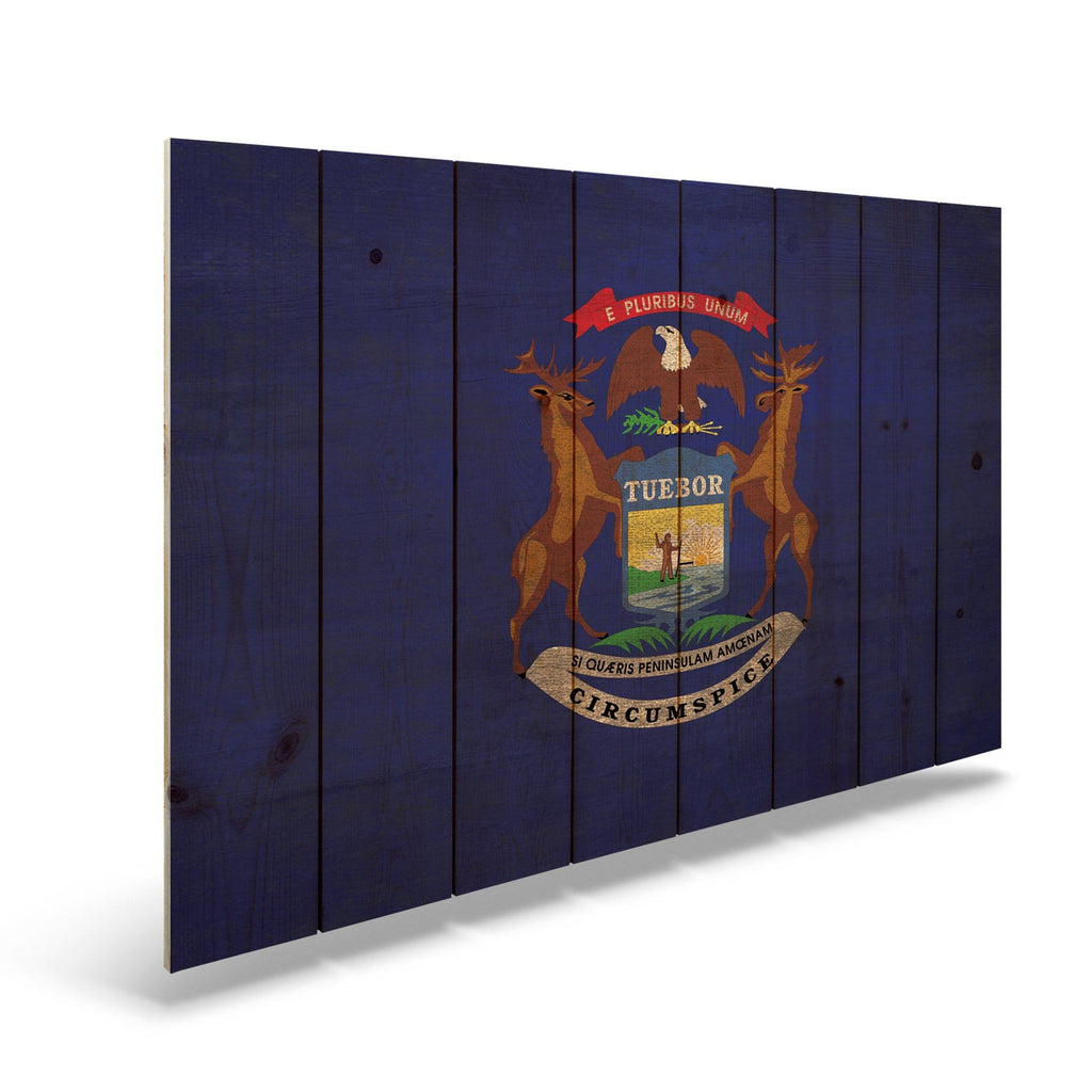 "Michigan State Historic Flag on Wood - Indoor & Outdoor Wall Art DaydreamHQ Pine Wall Art 44""x30"""