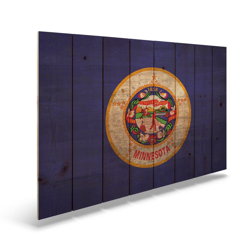 "Minnesota State Historic Flag on Wood - Indoor & Outdoor Wall Art DaydreamHQ Pine Wall Art 44""x30"""