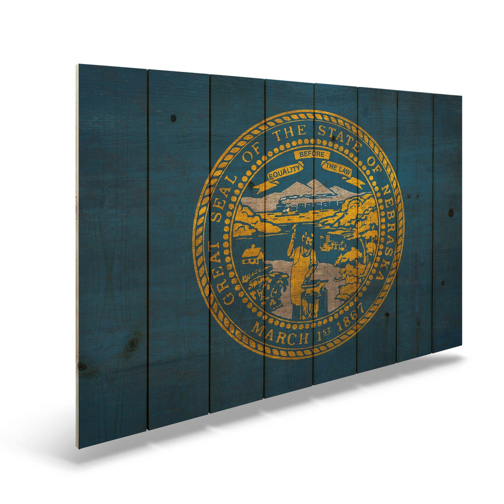 "Nebraska State Historic Flag on Wood - Indoor & Outdoor Wall Art DaydreamHQ Pine Wall Art 44""x30"""