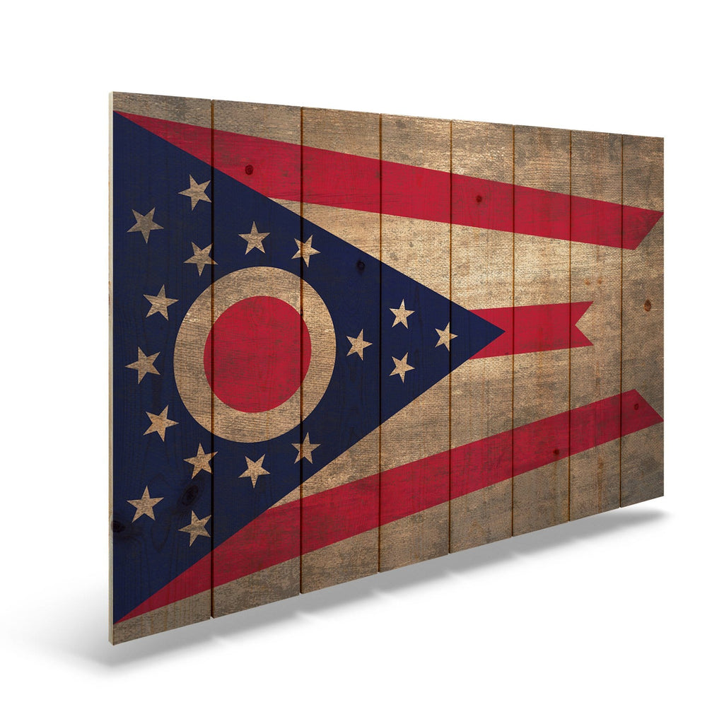 "Ohio State Historic Flag on Wood - Indoor & Outdoor Wall Art DaydreamHQ Pine Wall Art 44""x30"""