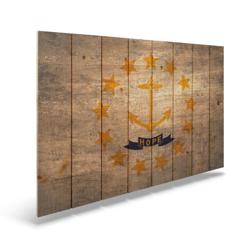 "Rhode Island State Historic Flag on Wood - Indoor & Outdoor Wall Art Daydream HQ Pine Wall Art 44""x30"""