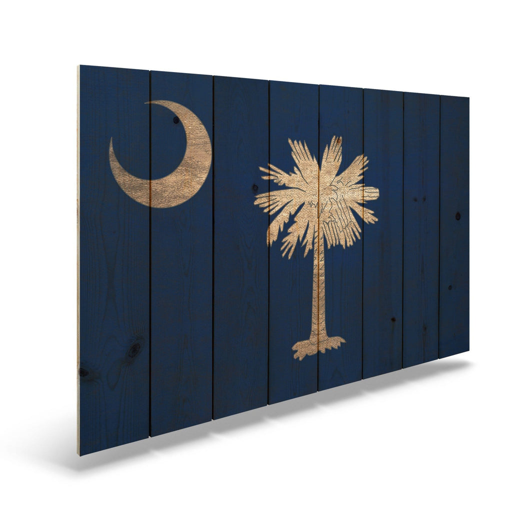 "South Carolina State Historic Flag on Wood - Indoor & Outdoor Wall Art DaydreamHQ Pine Wall Art 44""x30"""