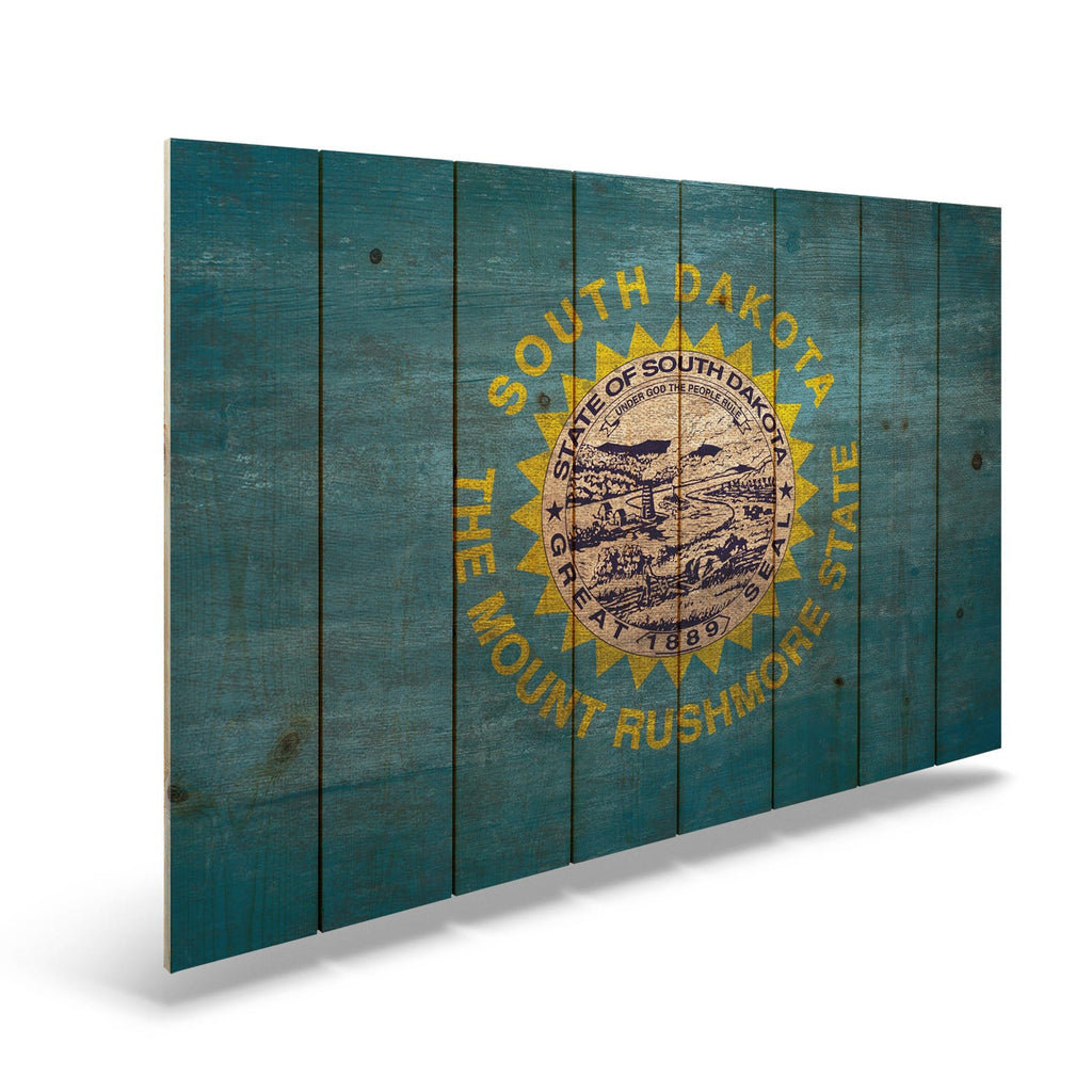 "South Dakota State Historic Flag on Wood - Indoor & Outdoor Wall Art DaydreamHQ Pine Wall Art 44""x30"""