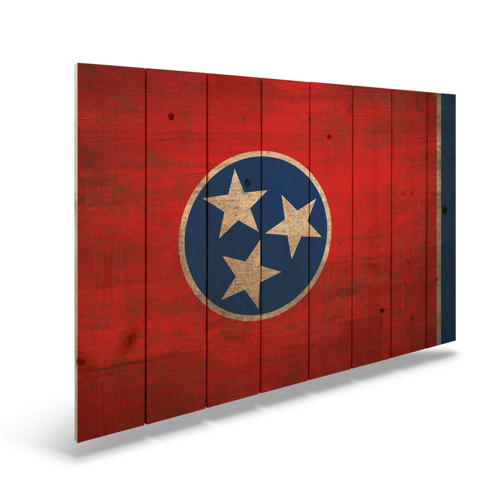 "Tennessee State Historic Flag on Wood - Indoor & Outdoor Wall Art DaydreamHQ Pine Wall Art 44""x30"""