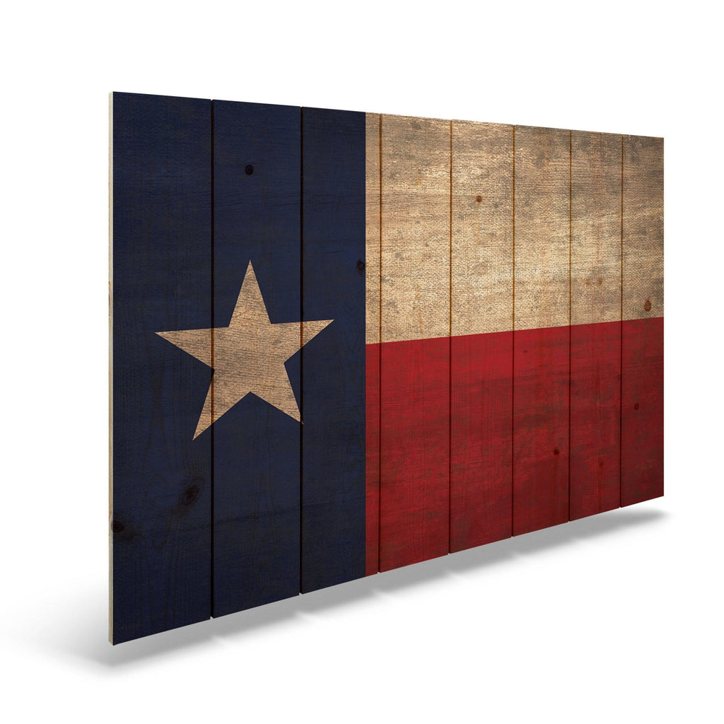 "Texas State Historic Flag on Wood - Indoor & Outdoor Wall Art DaydreamHQ Pine Wall Art 44""x30"""