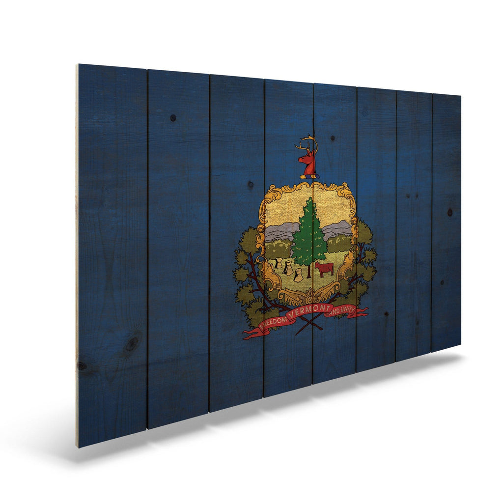 "Vermont State Historic Flag on Wood - Indoor & Outdoor Wall Art DaydreamHQ Pine Wall Art 44""x30"""