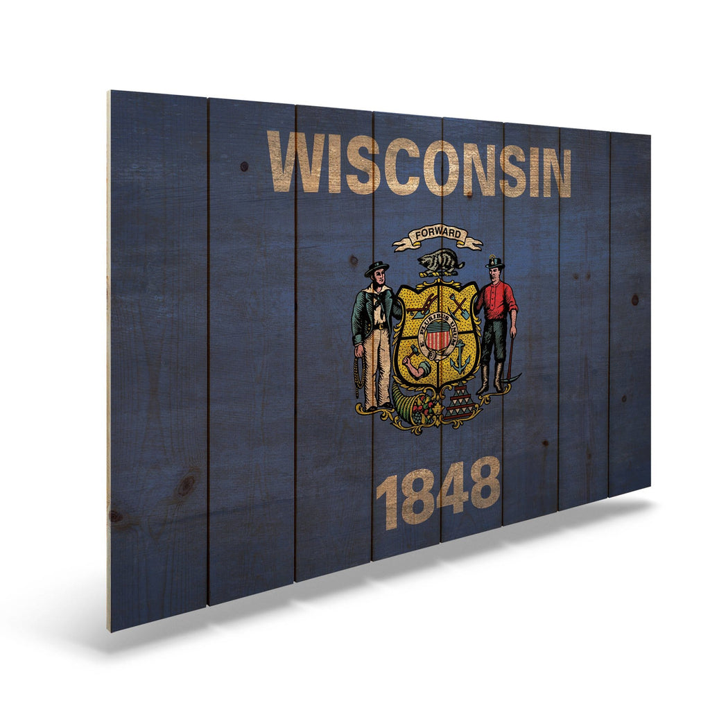 "Wisconsin State Historic Flag on Wood - Indoor & Outdoor Wall Art DaydreamHQ Pine Wall Art 44""x30"""