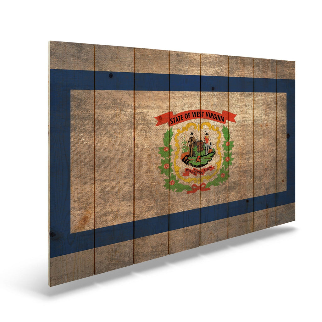 "West Virginia State Historic Flag on Wood - Indoor & Outdoor Wall Art DaydreamHQ Pine Wall Art 44""x30"""