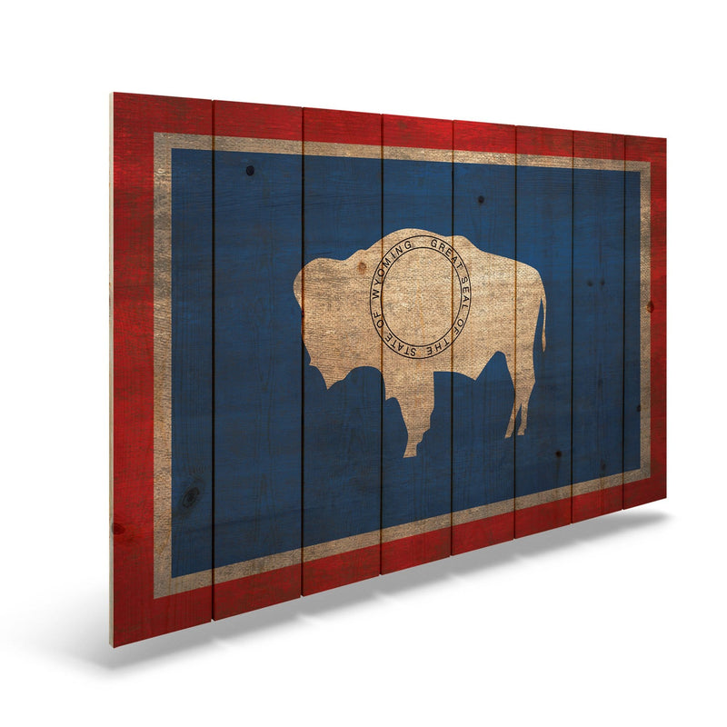 "Wyoming State Historic Flag on Wood - Indoor & Outdoor Wall Art Daydream HQ Pine Wall Art 44""x30"""