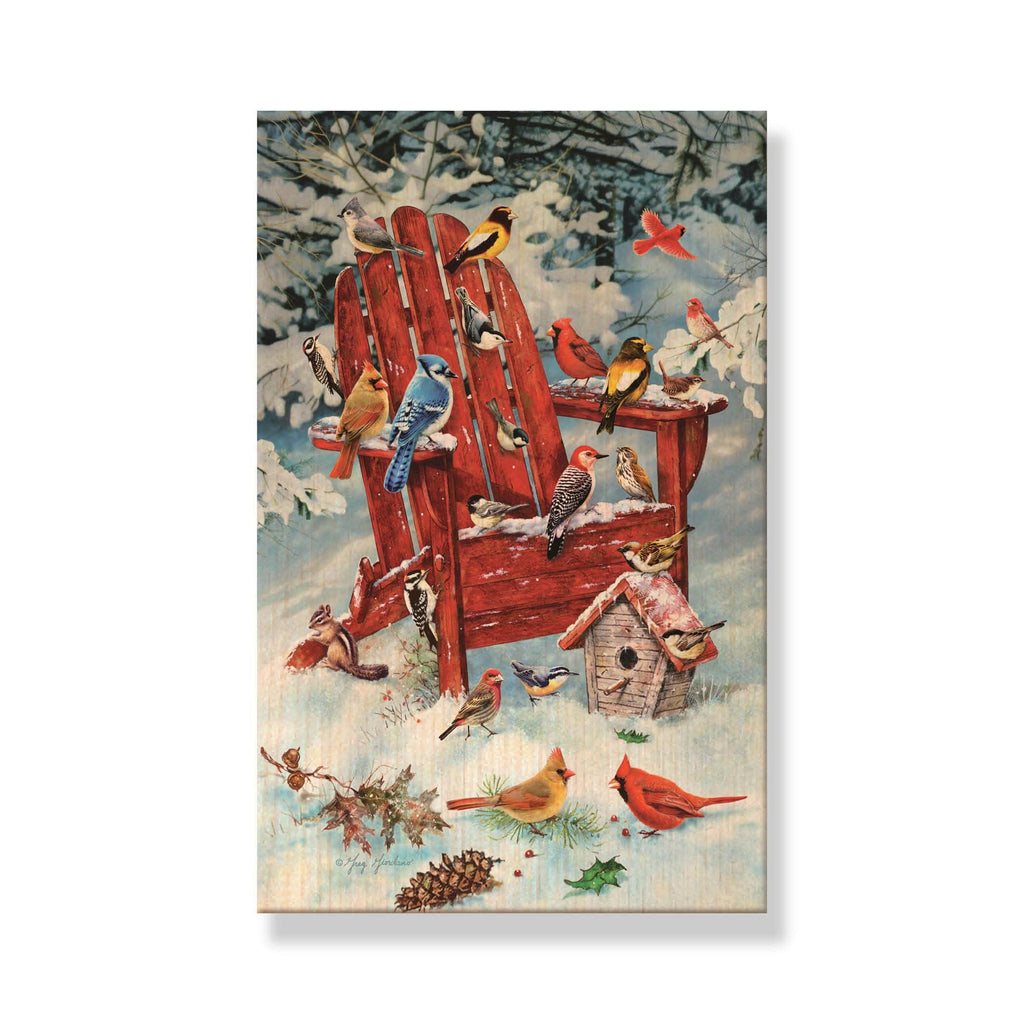 Giordano's Birds on Winter Chair - Mailable Wood Postcard - Single Image Multi Pack DaydreamHQ