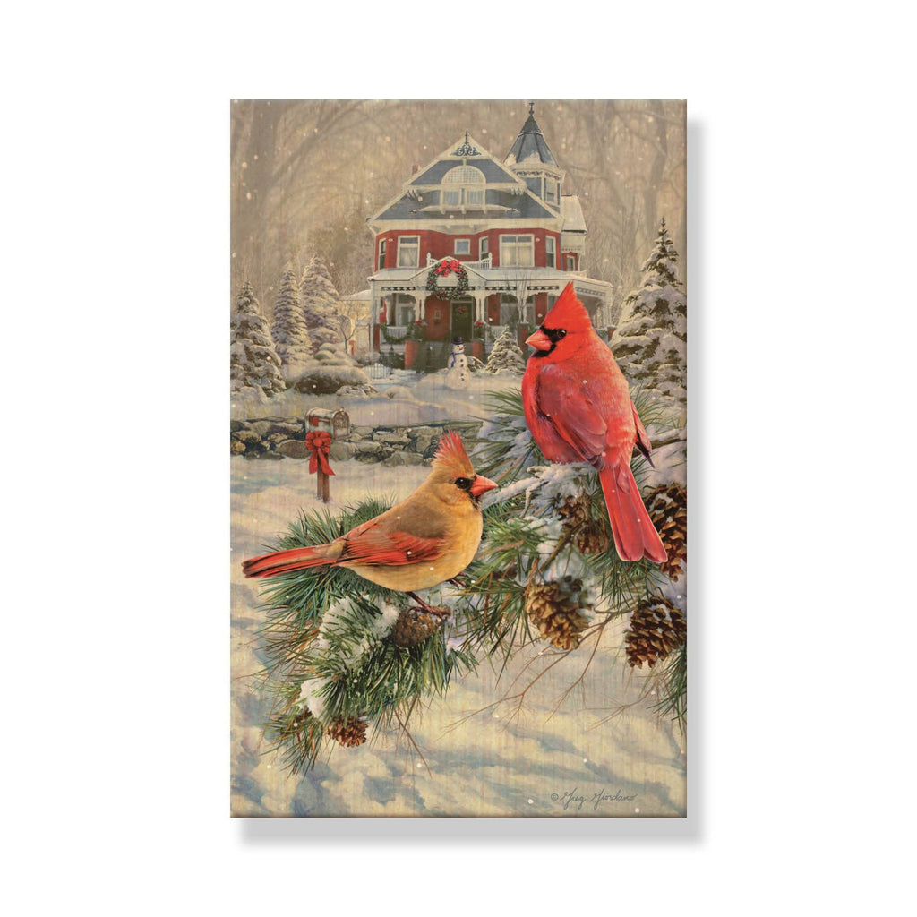 Giordano's Cardinals & House - Mailable Wood Postcard - Single Image Multi Pack DaydreamHQ