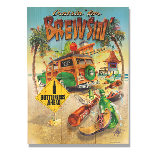 "Cruisin' for Brewsin' - Jim Mazzotta DaydreamHQ Pine Wall Art 11""x15"""