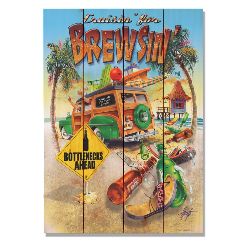 "Cruisin' for Brewsin' - Jim Mazzotta DaydreamHQ Pine Wall Art 14""x20"""