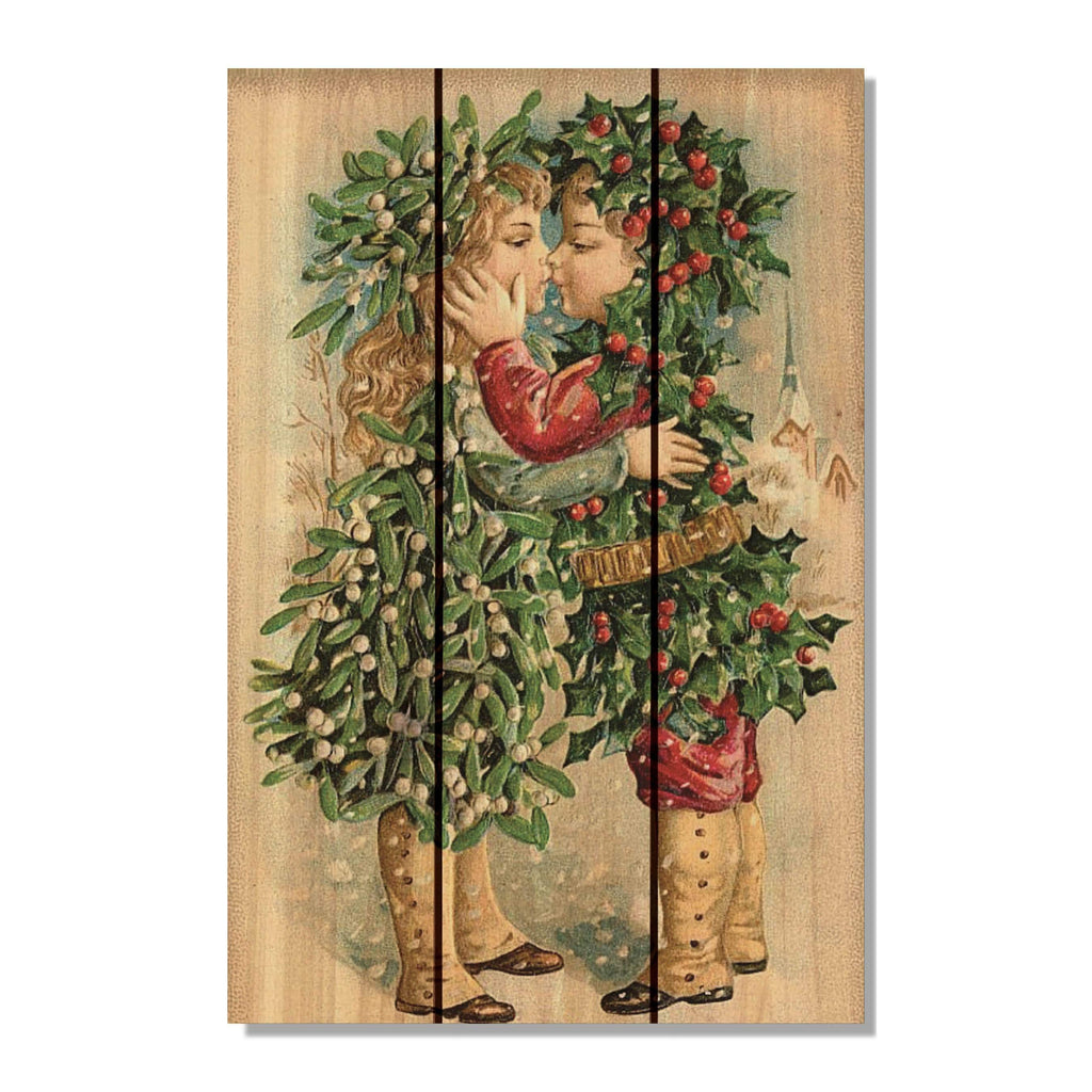 Kissing Kids - Christmas Wood Wall Art DaydreamHQ FenceEscape