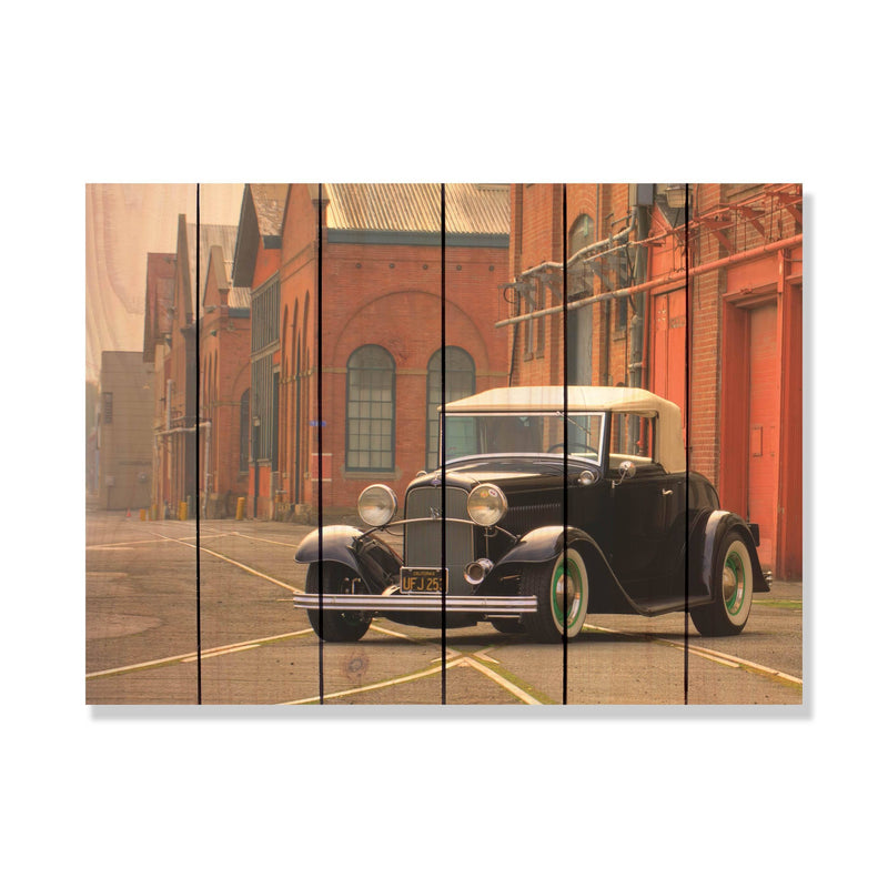 Memory Lane on Wood - Classic Car Art Outside by Mike FenceEscape 33x24