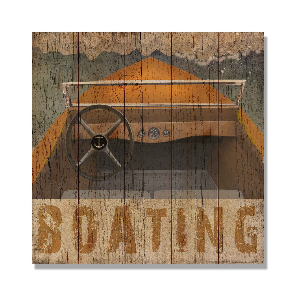 Boating Square - Cabin Wood Wall Decor DaydreamHQ Pine Wall Art 17x17