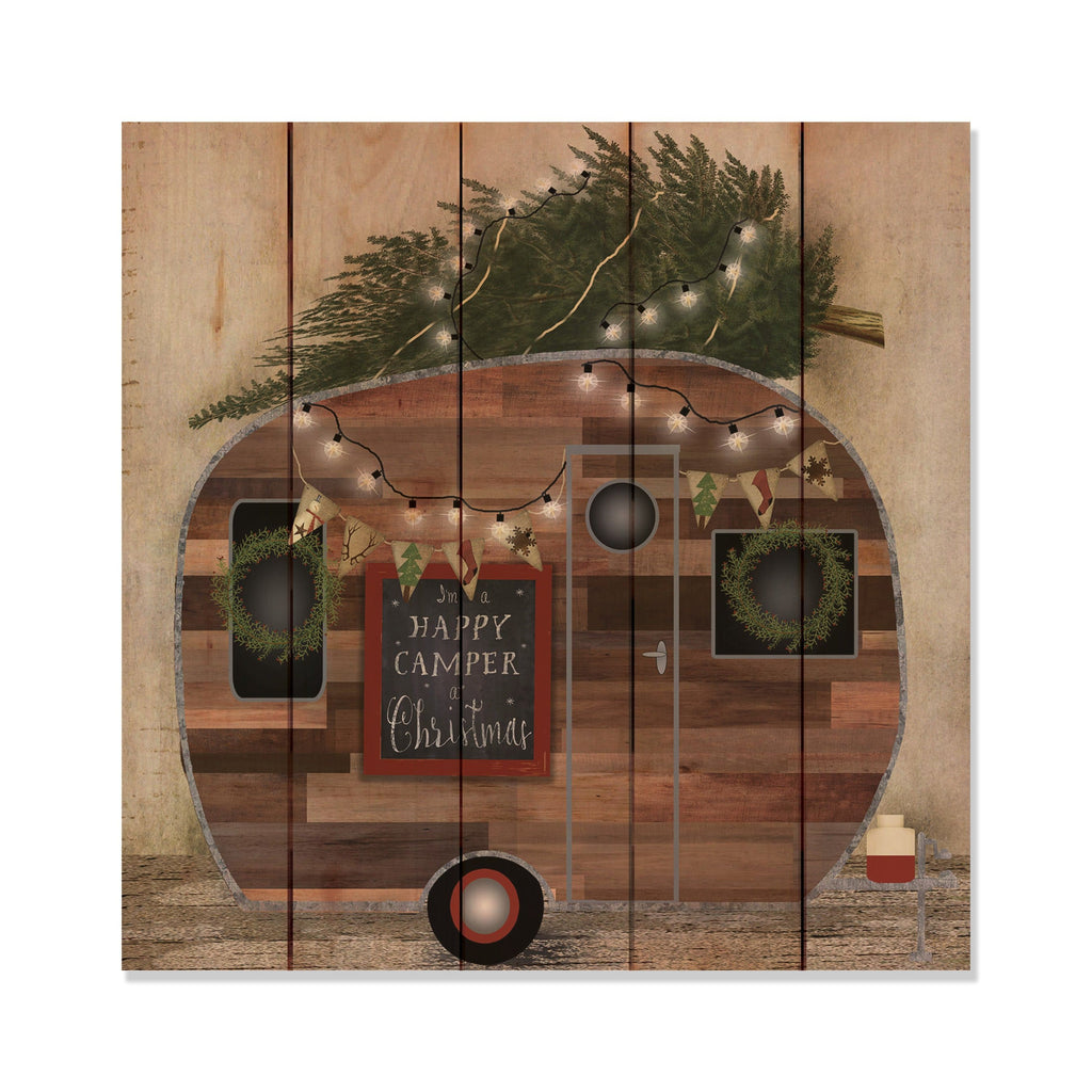 Happy Camper Christmas - Classic Pine Wood Art Art DaydreamHQ Pine Wall Art