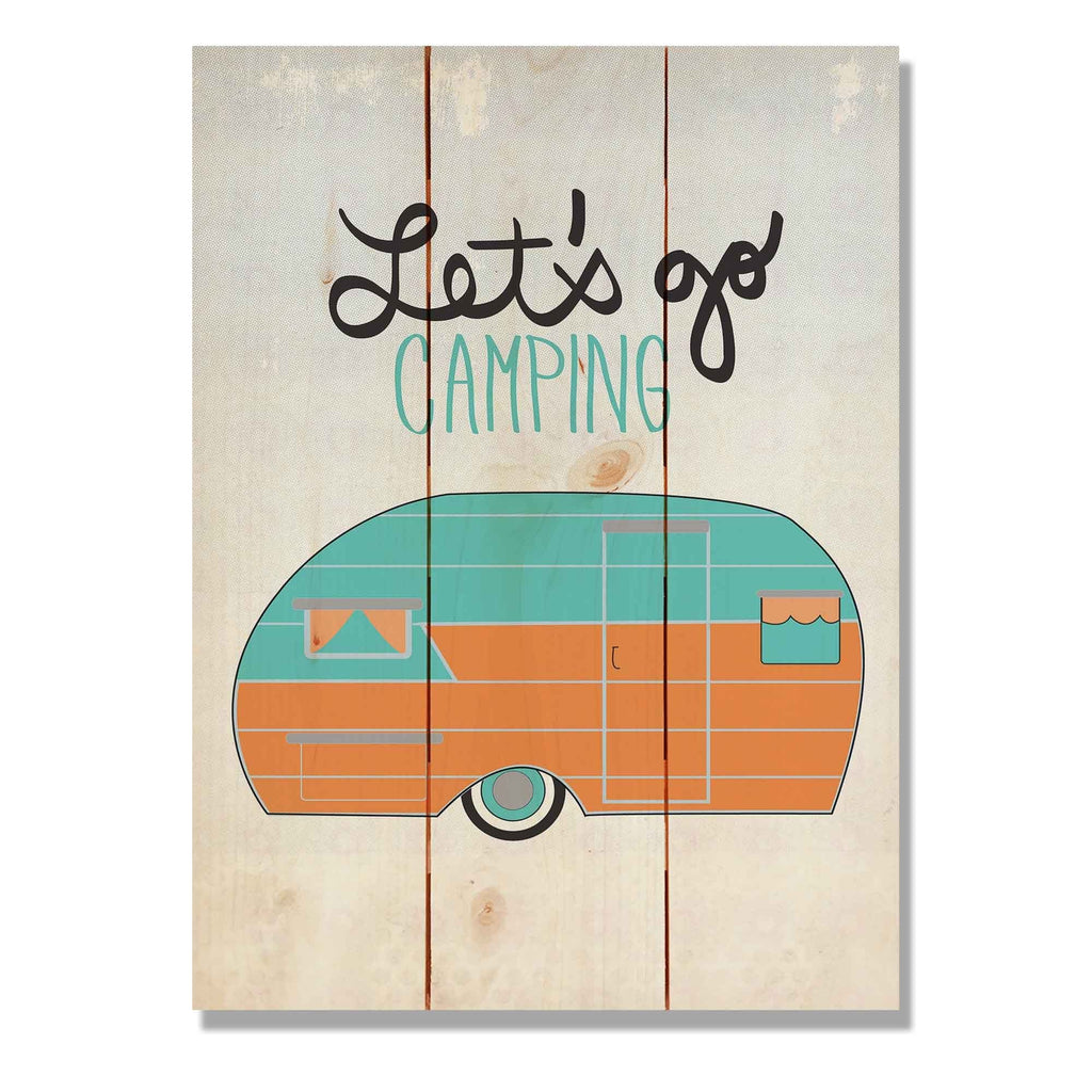"Let's Go Camping - Cabin Wood Wall Art DaydreamHQ Pine Wall Art 11""x15"""