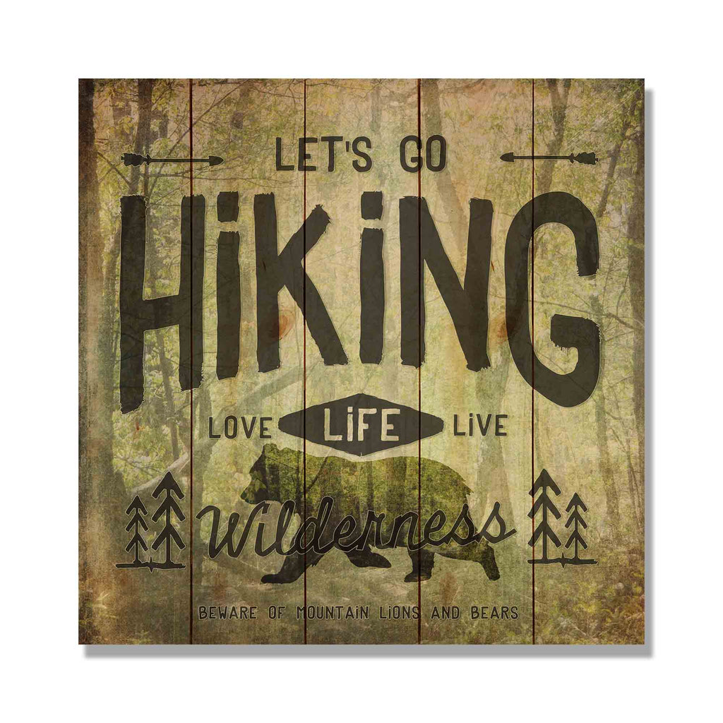 "Let's Go Hiking - 17x17"" Wilderness Artwork DaydreamHQ Pine Wall Art 17x17"