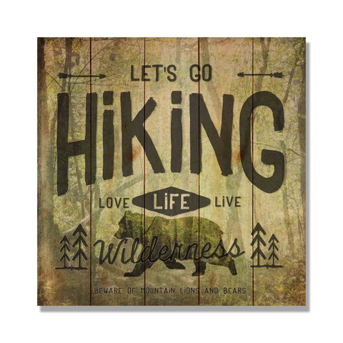 "Let's Go Hiking - 17x17"" Wilderness Artwork"